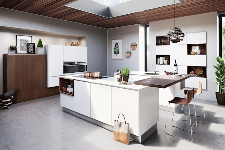 White Kitchen with Wood Accents :  Kitchen by LWK Kitchens SA