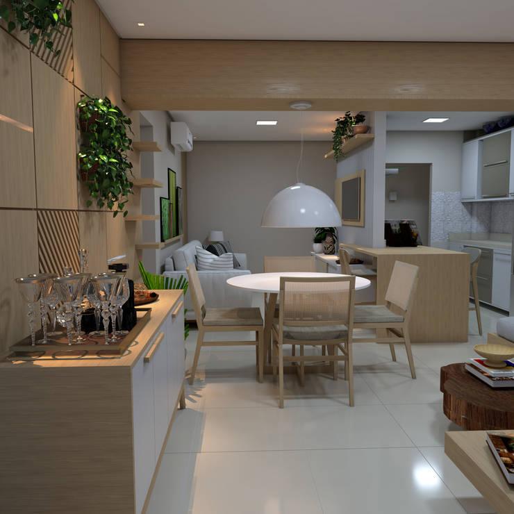 Vista da varanda para a sala: Salas de estar  por ALENCAR Arquitetura | Interiores,Moderno MDF