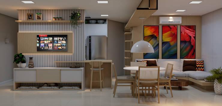 Vista panorâmica da sala de estar e de jantar: Salas de estar  por ALENCAR Arquitetura | Interiores,Moderno MDF