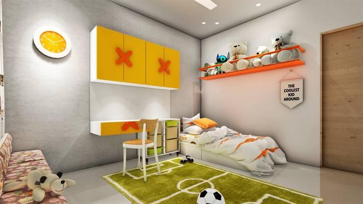 Nyati Ambiance, Undri, 3BHK:  Bedroom by DESIGN EVOLUTION LAB