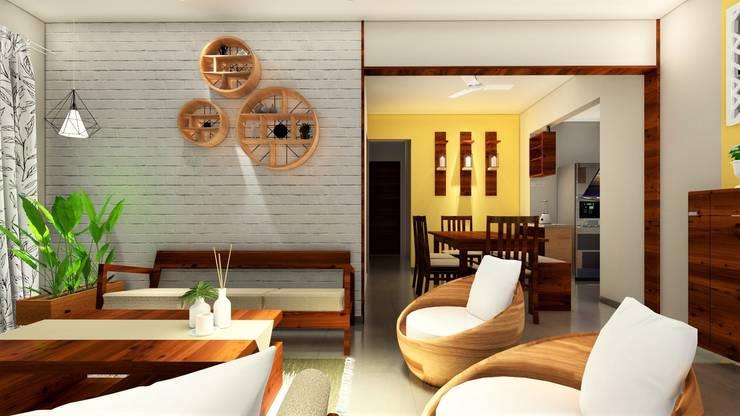 Nyati Ambiance, Undri, 3BHK:  Living room by DESIGN EVOLUTION LAB