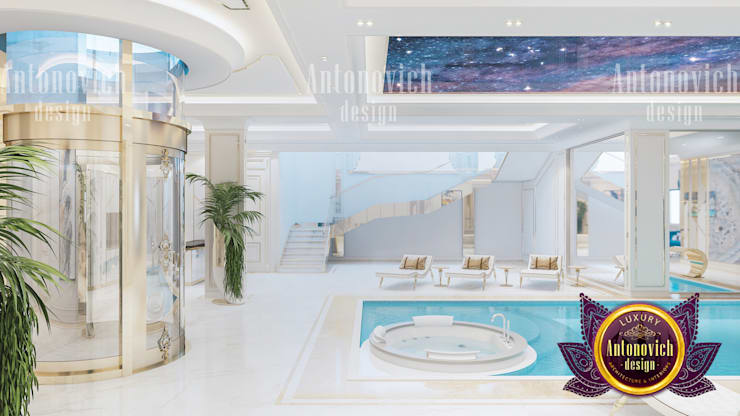 Elagant Pool Design:   by Luxury Antonovich Design,