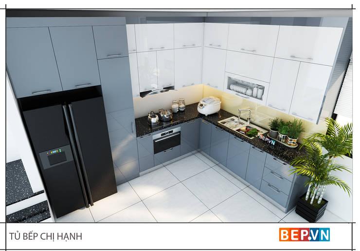 Tủ bếp Acrylic chữ L gia đình chị Hạnh:  Kitchen by bep-vn-406-Xa-dan-02462627762,