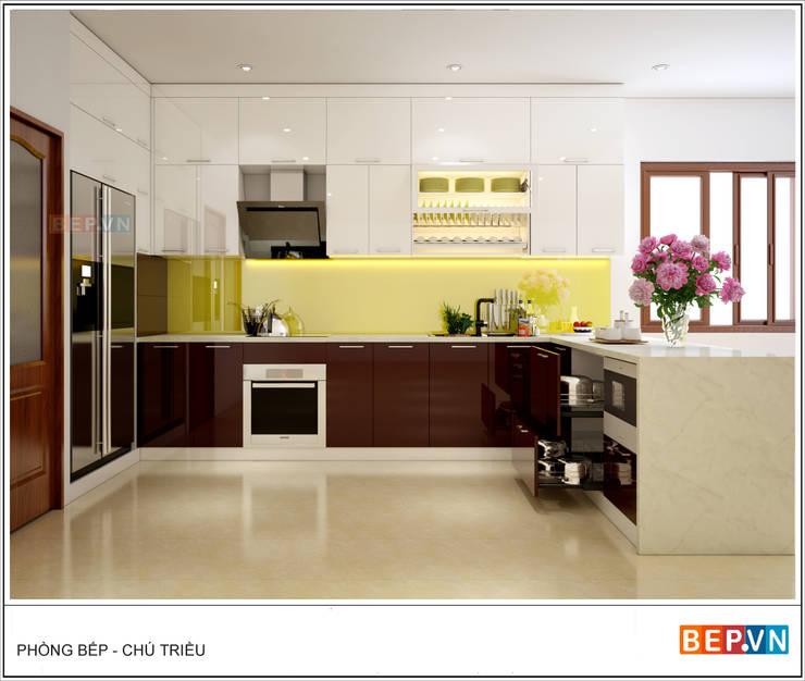 Tủ bếp Acrylic chữ U gia đình chú Triều:  Kitchen by bep-vn-406-Xa-dan-02462627762,