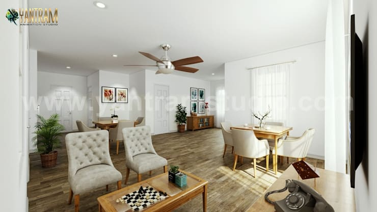 Modern Residential Living room with dining area of architectural design home plans by 3d animation studio:  Living room by Yantram Architectural Animation Design Studio Corporation, Modern