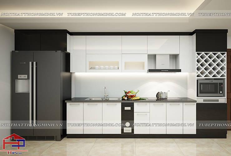 Hình ảnh thiết kế 3D bộ tủ bếp acrylic nhà chị Hằng - Nghệ An:  Kitchen by Nội thất Hpro,