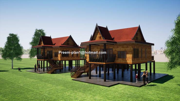 เรือนไทยยกสูงสำหรับคนชอบงานไม้:  บ้านไม้ by รับเขียนแบบบ้าน&ออกแบบบ้าน