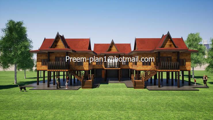 เรือนไทย:  บ้านไม้ by รับเขียนแบบบ้าน&ออกแบบบ้าน