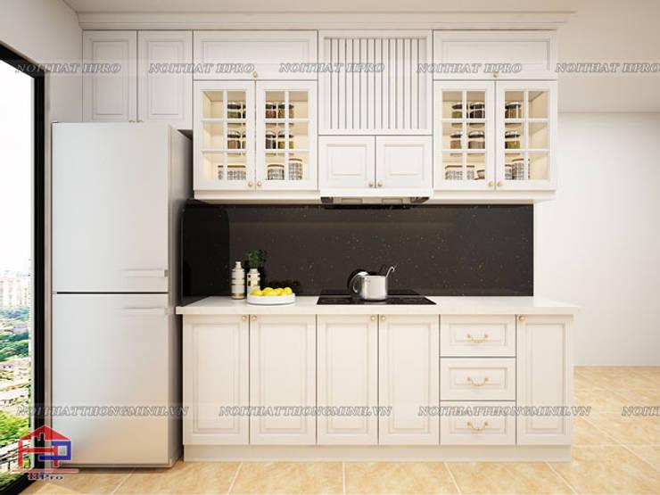 Hình ảnh thiết kế 3D bộ tủ bếp tân cổ điển nhà chị Hoa - Kim Giang:  Kitchen by Nội thất Hpro,