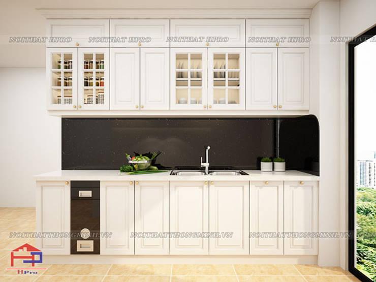 Hình ảnh thiết kế 3D bộ tủ bếp MDF lõi xanh sơn trắng nhà chị Hoa - Kim Giang:  Kitchen by Nội thất Hpro,