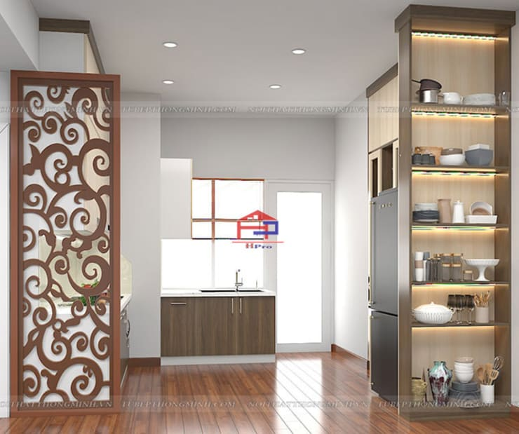 Hình ảnh thiết kế 3D tủ bếp melamine nhà chị Thoa - Tây Hồ:  Kitchen by Nội thất Hpro,