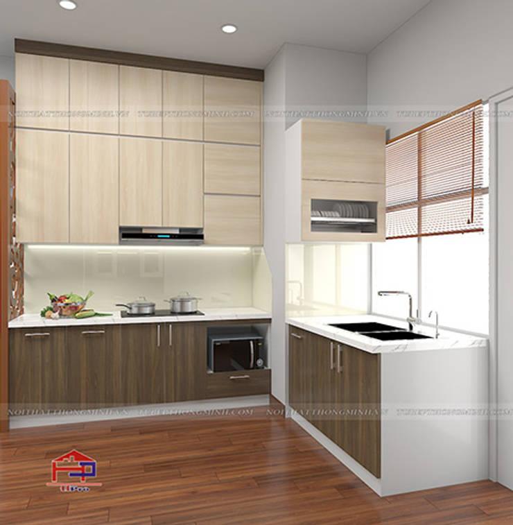 Hình ảnh thiết kế 3D tủ bếp melamine chữ L nhà chị Thoa - Tây Hồ:  Kitchen by Nội thất Hpro,