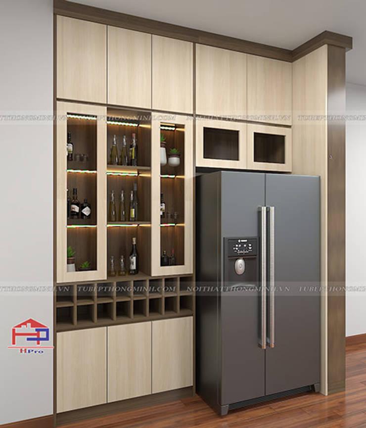 Hình ảnh thiết kế 3D tủ rượu melamine nhà chị Thoa - Tây Hồ:  Kitchen by Nội thất Hpro,
