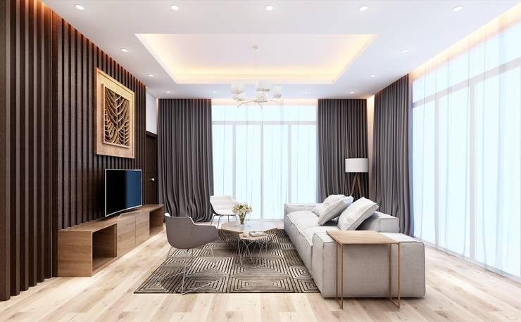 Гостиная в . Автор – Nguyen Phong Thiết kế nội thất, Скандинавский ОСП