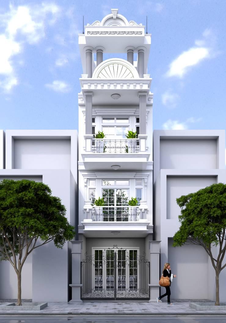 Thiết kế nhà lô phố tân cổ điển.:  Nhà gia đình by Nguyen Phong Thiết kế nội thất,
