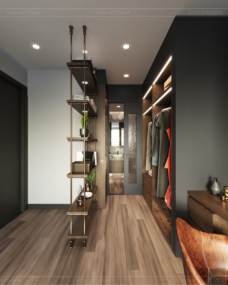 THIẾT KẾ PHONG CÁCH INDUSTRIAL MIX SUNRISE CITYVIEW:  Phòng ngủ by ICON INTERIOR,