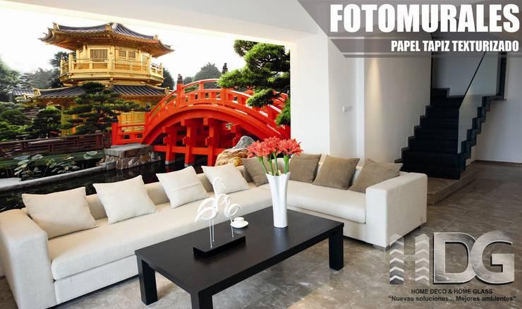 Fotomural Sala : Paredes y suelos de estilo  por HOME DECO & HOME GLASS,