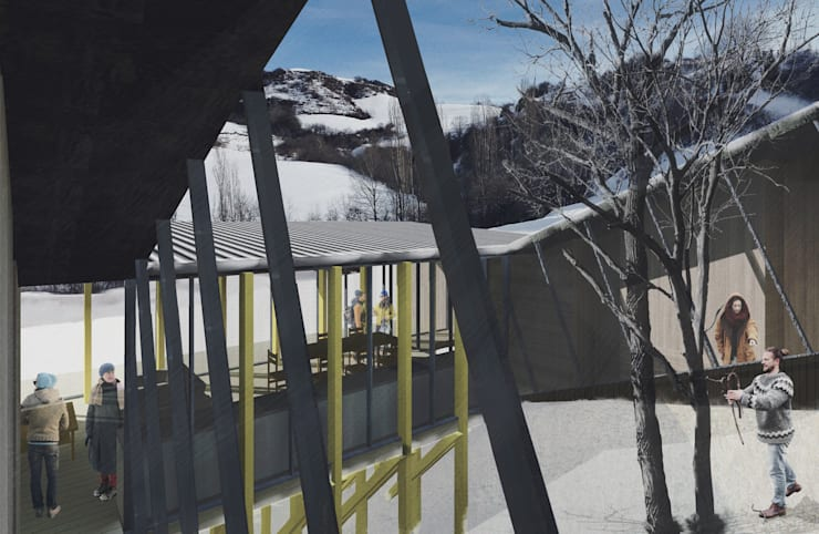 Refugio en la nieve: Jardines de invierno de estilo  por Logan Leyton Arquitectos