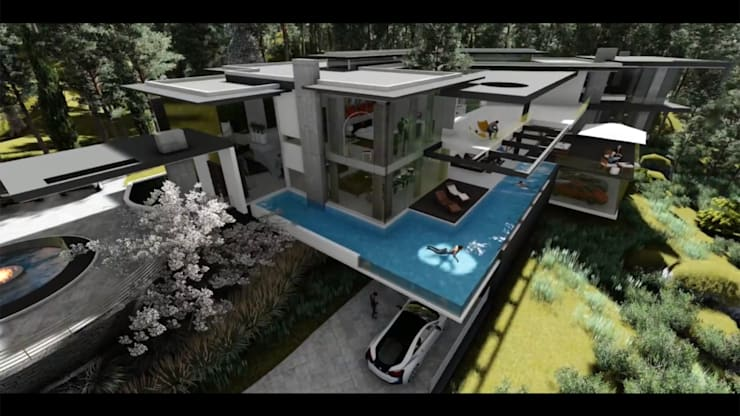 Ultra modern cantilever residence:  Swimming pond by FRANCOIS MARAIS ARCHITECTS,