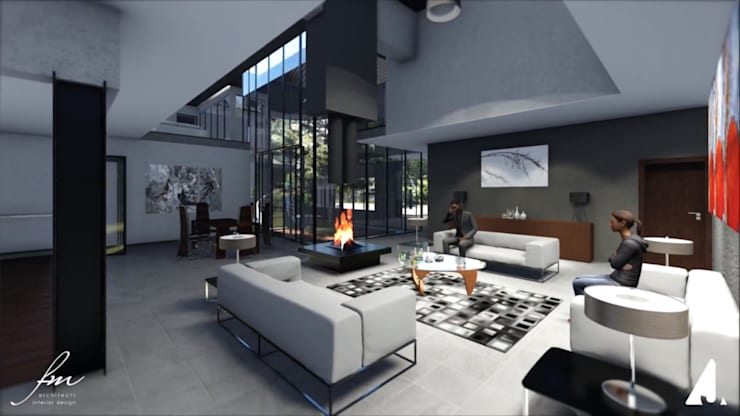 Zambian Luxury residence:  Living room by FRANCOIS MARAIS ARCHITECTS,