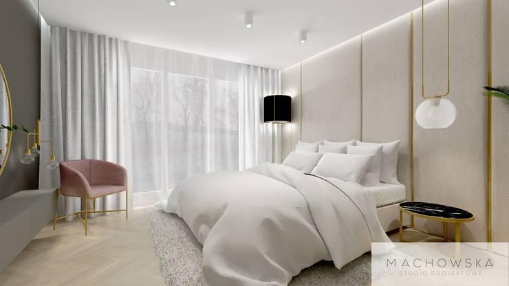 Kamar Tidur oleh Machowska Studio Projektowe, Modern Perak/Emas