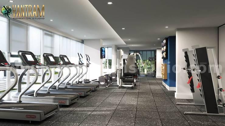 Newest Fitness Health GYM interior design by Architectural Visualisation Studio:  Gym by Yantram Architectural Design Studio Corporation, Modern