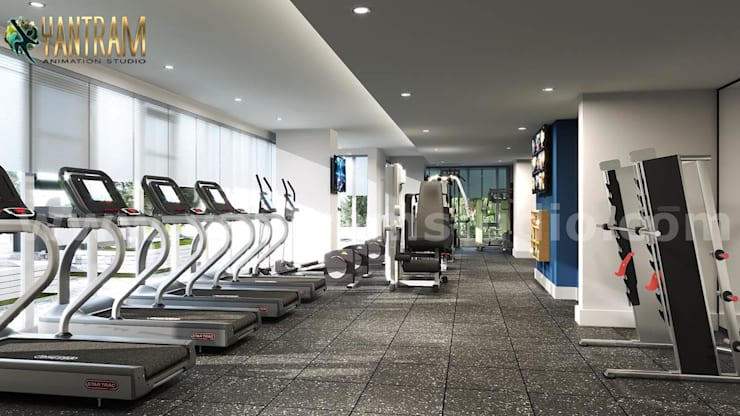 Newest Fitness Health GYM interior design by Architectural Visualisation Studio:  Gym by Yantram Architectural Animation Design Studio Corporation, Classic