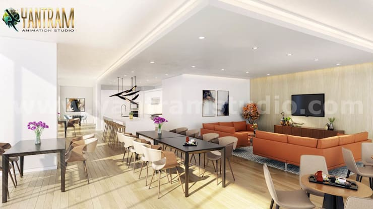 Popular attractive Interior clubhouse design ideas by 3d architectural design:  Stairs by Yantram Architectural Animation Design Studio Corporation, Modern