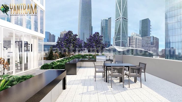 Rooftop terrace view of Behind attractive high-rise Building Exterior View:  Roof terrace by Yantram Architectural Animation Design Studio Corporation, Modern