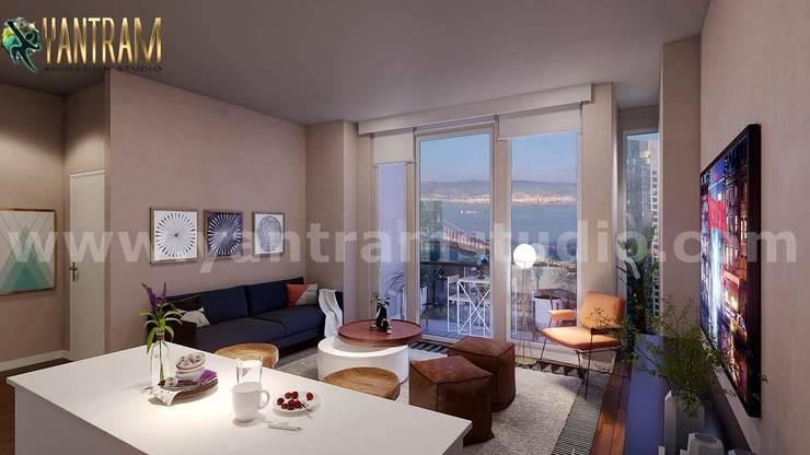 Stylist Interior Architecture Designing Living room Decor Ideas by 3D Architectural design:  Living room by Yantram Architectural Animation Design Studio Corporation, Classic