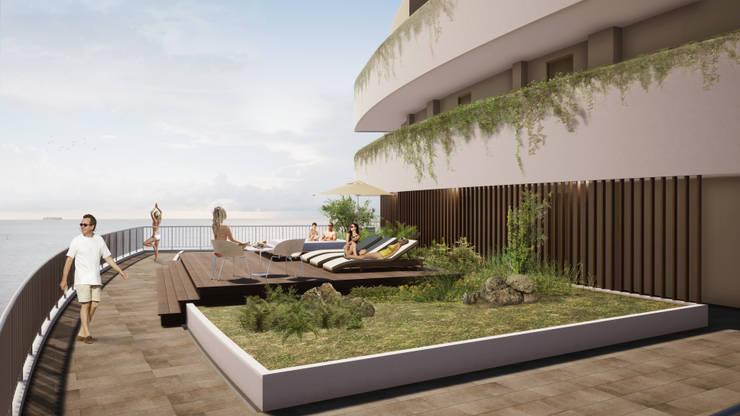 IROTAMA BAHIA: Terrazas de estilo  por CAMPUZANO ARQUITECTOS,
