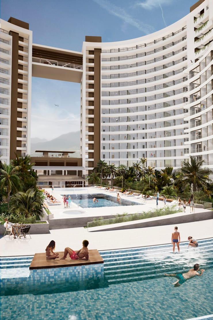 IROTAMA BAHIA: Piscinas infinitas de estilo  por CAMPUZANO ARQUITECTOS,