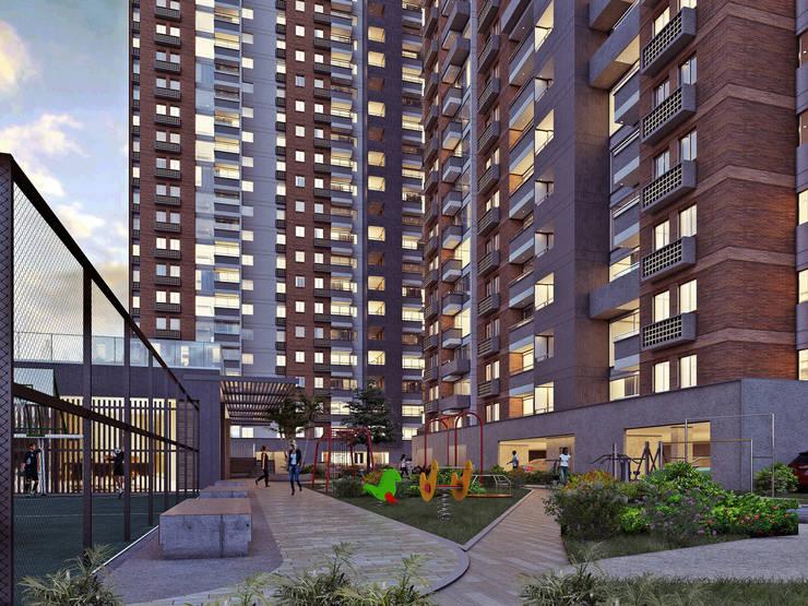 ACUARELA DEL PARQUE: Terrazas de estilo  por Mir Estudio - Arquitectura y Visualización 3D,