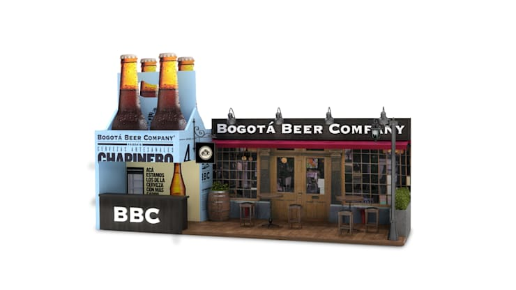 Propuesta diseño de stand bogota beer company:  de estilo  por Magrev - Diseño y construcción de espacios.,