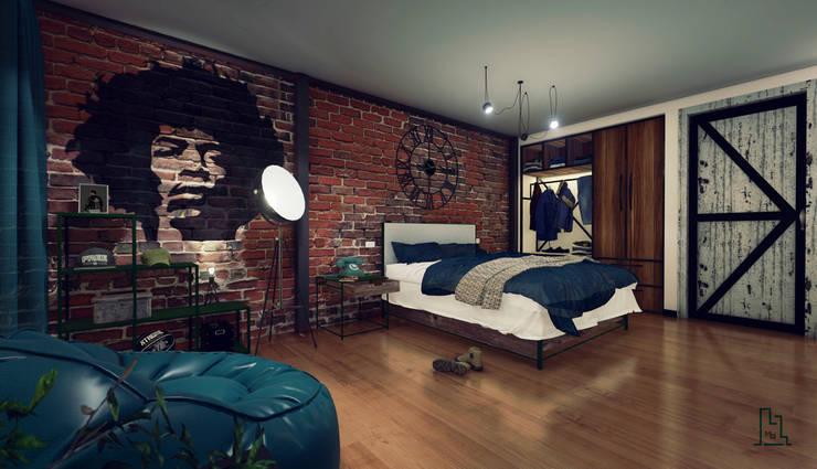 Dormitorio: Dormitorios de estilo  por Minkarq. Arquitectura y construcción, Industrial Madera Acabado en madera