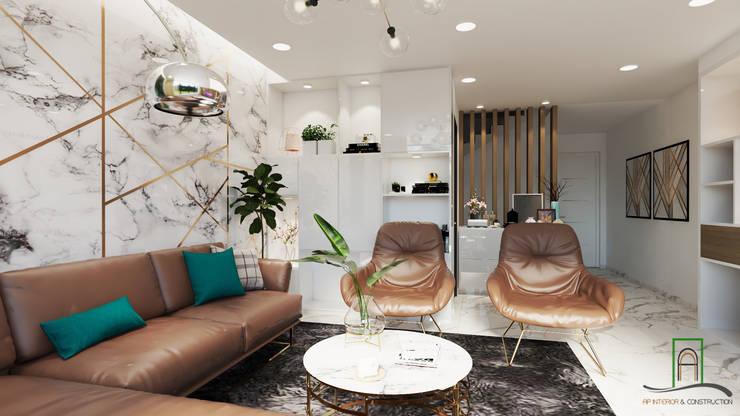 Thiết kế và thi công xây dựng nhà phố liền kề dự án Uni-Town:  Phòng khách by Công ty TNHH sửa chữa nhà phố trọn gói An Phú 0911.120.739,