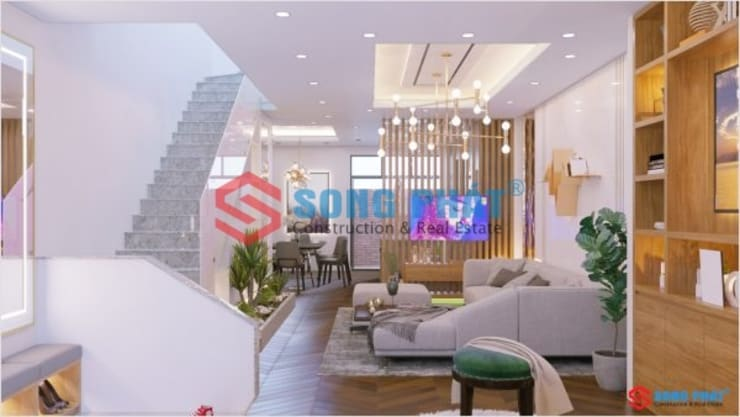 Thiết kế và thi công nội thất nhà phố 2 tầng 5x20m tại Bình Dương:  Phòng khách by Công ty TNHH TK XD Song Phát,