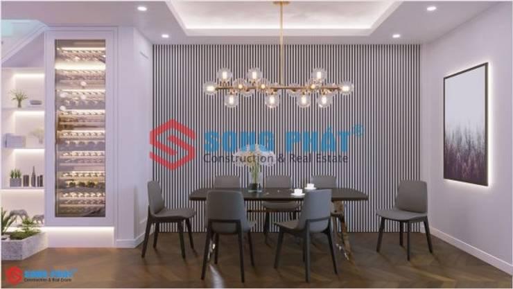 Thiết kế và thi công nội thất nhà phố 2 tầng 5x20m tại Bình Dương:  Kitchen by Công ty TNHH TK XD Song Phát,