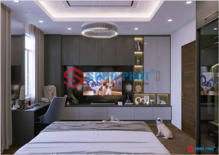 Thiết kế và thi công nội thất nhà phố 2 tầng 5x20m tại Bình Dương:  Bedroom by Công ty TNHH TK XD Song Phát,