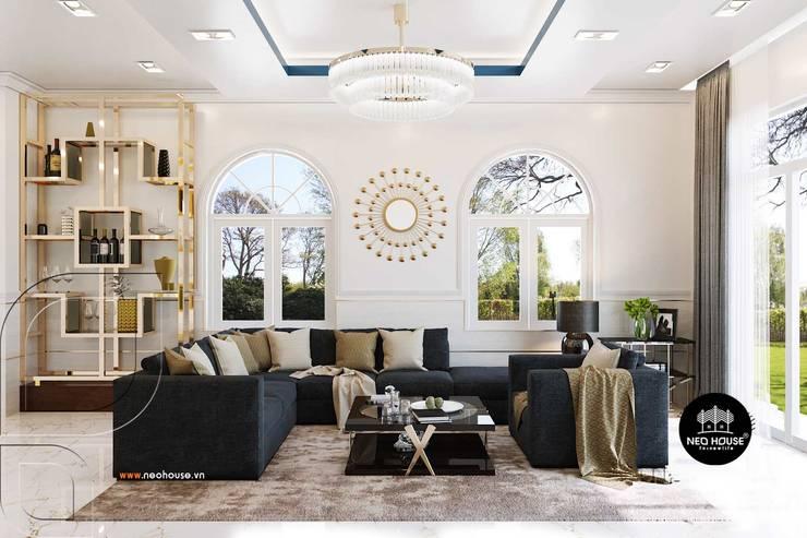 Mẫu biệt thự vườn 1 tầng mái thái đẹp | Hiện đại nhất 2019:  Living room by NEOHouse,