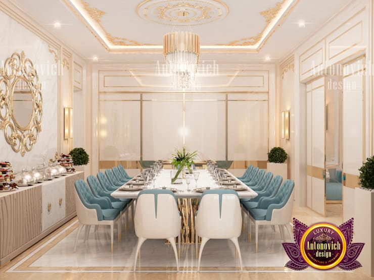 Sleek Dining Materials:   by Luxury Antonovich Design,