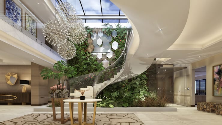 Lobby Area, Entrance Hall Modern Corridor, Hallway and Staircase by Spegash Interiors Modern