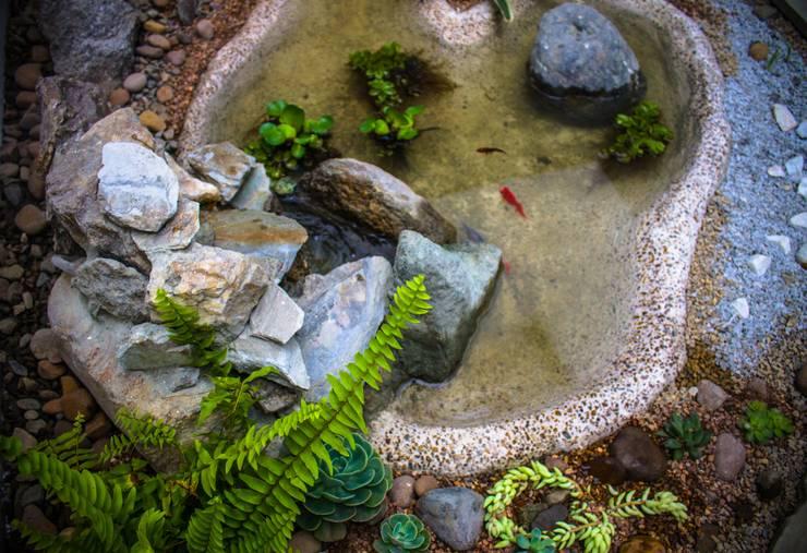 Poseta  con cascada al interior: Estanques de jardín de estilo  por Juan Sebastián Jaramillo Lizarralde,