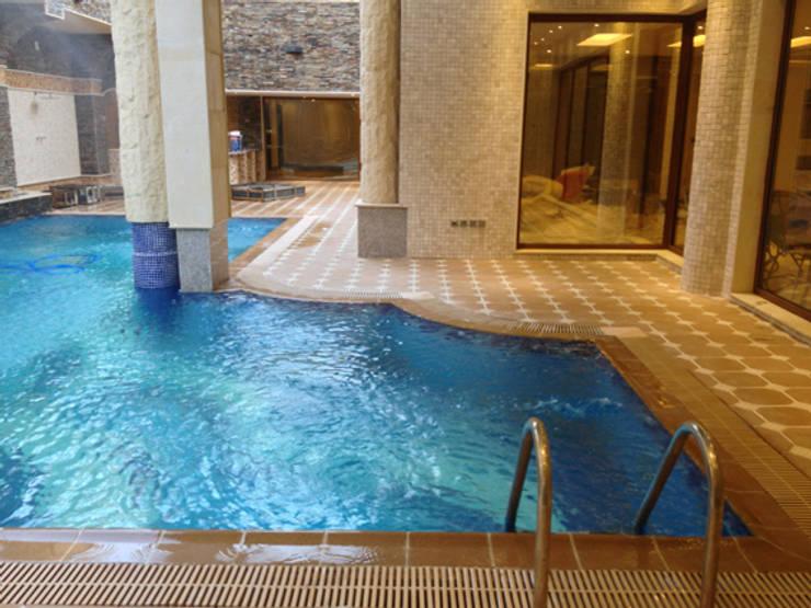 المسبح بالبدروم مع الاطلالة الساحة:  مسبح حديقة تنفيذ smarthome,