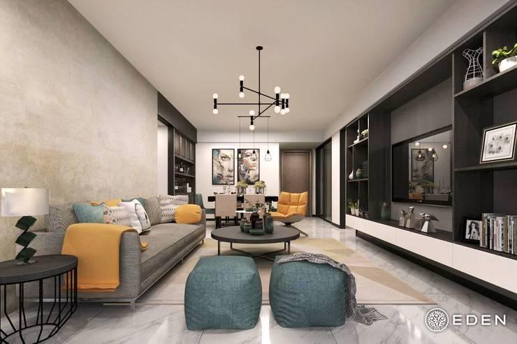 living room:  غرفة المعيشة تنفيذ Eden Designs,