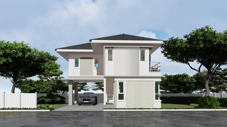 บ้านตัวอย่างของบ้านระเบียงขาว ในโครงการที่หัวหิน:   โดย บริษัท บ้านระเบียงขาว จำกัด,