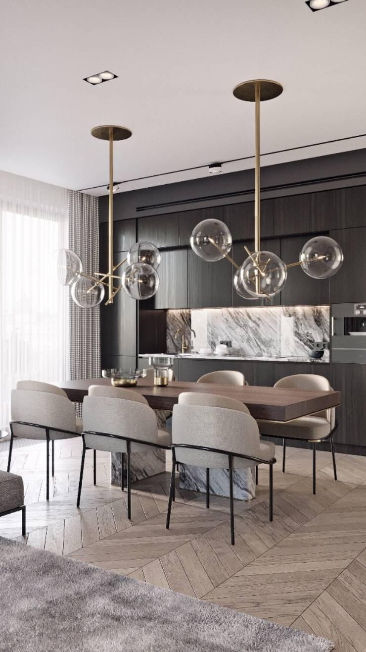غرفة سفرة مع اضاءة :  غرفة السفرة تنفيذ smarthome,