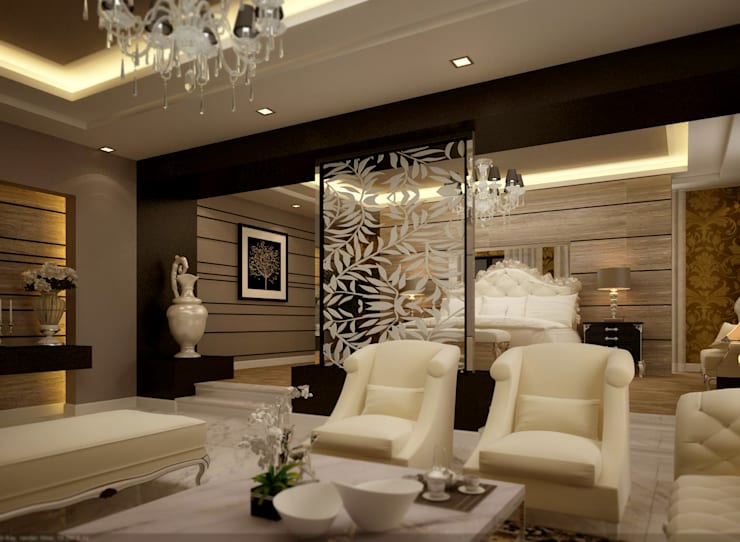 bedroom:  بيت زجاجي تنفيذ smarthome,