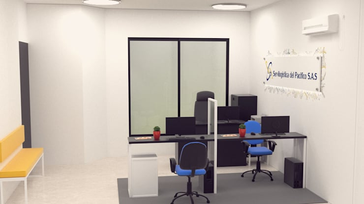 Diseño de oficina para servilogistica del pacifico.:  de estilo  por Magrev estudio.,