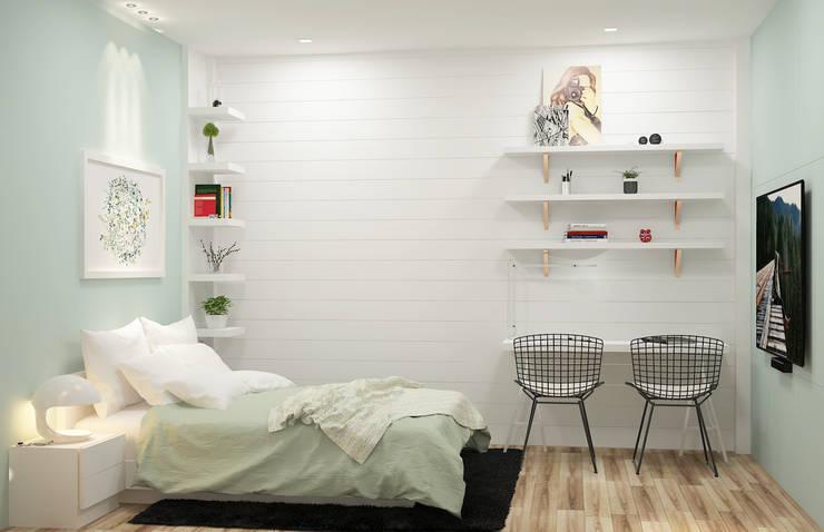 Mẫu thiết kế phòng ngủ tông màu sáng năm 2019:  Bedroom by Công ty TNHH sửa chữa nhà phố trọn gói An Phú 0911.120.739,